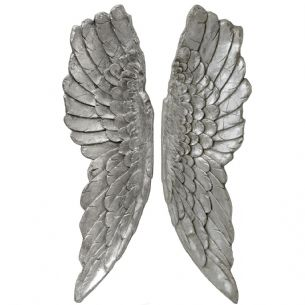 Huge 1 Metre Pair Antique Silver Hanging Angel Wings Decoration